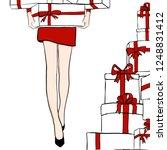 vector women in red dress with... | Shutterstock .eps vector #1248831412