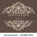 invitation cards in an old... | Shutterstock .eps vector #124887382