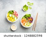 two assorted poke bowls  raw... | Shutterstock . vector #1248882598