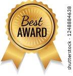 gold color best award ribbon...   Shutterstock .eps vector #1248884638