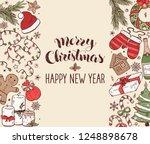 hand drawn merry christmas...   Shutterstock .eps vector #1248898678