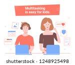 multitasking is easy for kids.... | Shutterstock .eps vector #1248925498