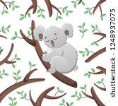 vector cartoon koala among the... | Shutterstock .eps vector #1248937075