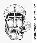 sketch of captain. hand drawn... | Shutterstock .eps vector #1248950725