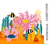 simple colorful underwater... | Shutterstock .eps vector #1248971935