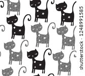 seamless pattern with cat... | Shutterstock .eps vector #1248991585