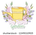 watering can with plants... | Shutterstock .eps vector #1249010905