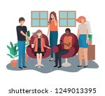 group of people using smartphone | Shutterstock .eps vector #1249013395