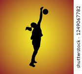 silhouette of volleyball... | Shutterstock .eps vector #1249067782