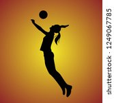 silhouette of volleyball... | Shutterstock .eps vector #1249067785