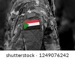 flag of sudan on soldiers arm....   Shutterstock . vector #1249076242