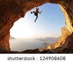 Rock Climber At Sunset....