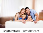 beautiful smiling family on... | Shutterstock . vector #1249093975