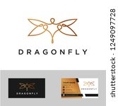 Stock vector minimalist elegant dragonfly logo design with line art style and business card inspiration 1249097728