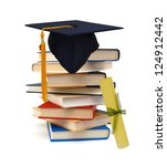 grad hat and diploma with books ... | Shutterstock . vector #124912442