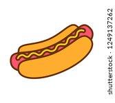 vector cartoon hotdog icon... | Shutterstock .eps vector #1249137262