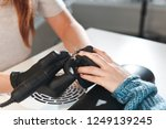 the manicurist removes the old... | Shutterstock . vector #1249139245