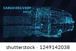 cargo delivery. a grid of blue... | Shutterstock .eps vector #1249142038