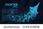 fighter. a grid of blue stars...   Shutterstock .eps vector #1249143898