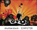 dj with turntables | Shutterstock .eps vector #12491728
