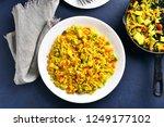 tasty vegetarian pilaf on white ... | Shutterstock . vector #1249177102