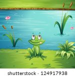 illustration of a hungry frog... | Shutterstock .eps vector #124917938
