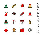christmas flat icons set... | Shutterstock .eps vector #1249183135