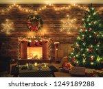 3d rendering christmas interior ... | Shutterstock . vector #1249189288