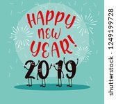 happy new year 2019 kawaii... | Shutterstock .eps vector #1249199728