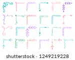 hand drawn set of corner with... | Shutterstock .eps vector #1249219228