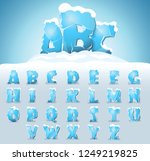 ice letters with snow on the... | Shutterstock .eps vector #1249219825