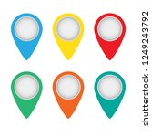 vector set of map pointers on... | Shutterstock .eps vector #1249243792