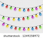 christmas glowing lights.... | Shutterstock .eps vector #1249258972