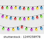 christmas glowing lights.... | Shutterstock .eps vector #1249258978