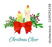 two christmas candles with... | Shutterstock .eps vector #1249292158