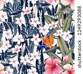 seamless floral pattern pink... | Shutterstock .eps vector #1249293088