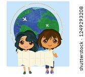two children holding map on... | Shutterstock .eps vector #1249293208