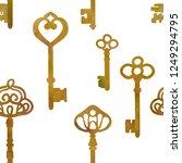antique bronze keys.   vector... | Shutterstock .eps vector #1249294795