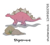 stegosaurus and stone with... | Shutterstock .eps vector #1249303705