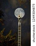 ambitious painter climbs ladder ... | Shutterstock . vector #1249304875