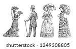 antique ladie and man.... | Shutterstock .eps vector #1249308805