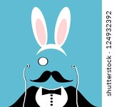 man with monocle and mustache...   Shutterstock .eps vector #124932392
