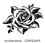 Stock vector black silhouette of rose with leaves vector illustration 124932695