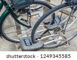 close up parking for bicycles... | Shutterstock . vector #1249345585