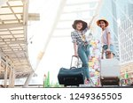 two travelers walking the bag. | Shutterstock . vector #1249365505