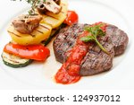 grilled steak with baked... | Shutterstock . vector #124937012
