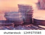 double exposure of graph and... | Shutterstock . vector #1249375585