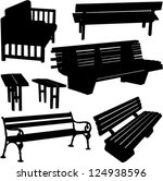 bench silhouette   vector | Shutterstock .eps vector #124938596