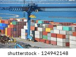 port cargo crane and container... | Shutterstock . vector #124942148
