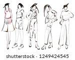 fashion girls sketch. fashion...   Shutterstock .eps vector #1249424545